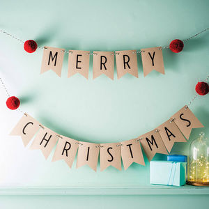 Merry Christmas Bunting With Pom Poms - decoration