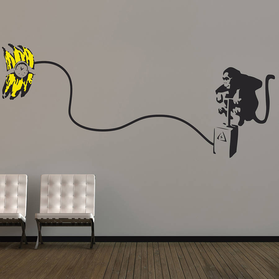 banksy monkey bomb wall stickers by the binary box