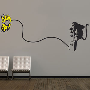 Banksy Monkey Bomb Wall Stickers - decorative accessories