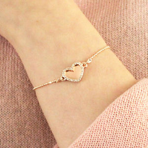 Double Sparkling Heart Personalised Bracelet