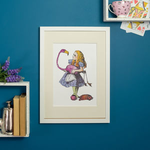 Alice In Wonderland Flamingo Illustration Print - literature