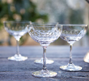 Set Of Six Lens Design Champagne Saucers - prosecco gifts