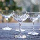 Set Of Six Lens Design Champagne Saucers