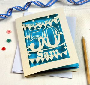 Personalised Papercut 50th Birthday Card - birthday cards