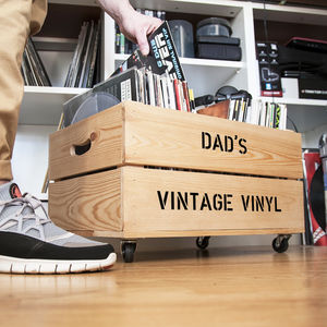 Personalised Record Storage Crate - storage
