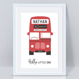 Personalised Bus Baby Gift Wall Print
