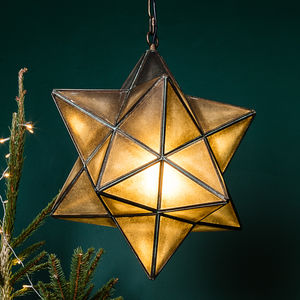 Antiqued Brass Star Pendant Lamp - ceiling lights