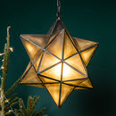 Antiqued Brass Star Pendant Lamp