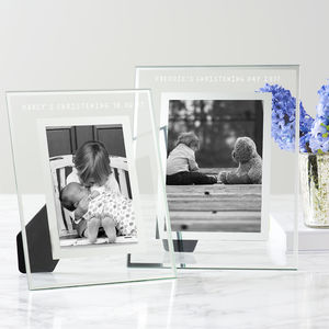 Personalised Glass Edged Christening Frame - picture frames for children