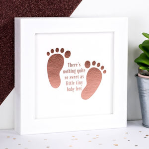 Framed Rose Gold Foil New Baby Print; 'Baby Feet' - new baby gifts