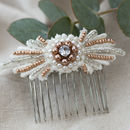 Rose Gold And Silver Handbeaded Bridal Hair Comb Lisa