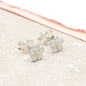 Sterling Silver And Enamel Daisy Earrings