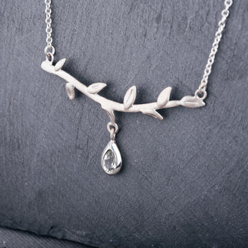 Sterling Silver Branch Necklace With Green Amethyst