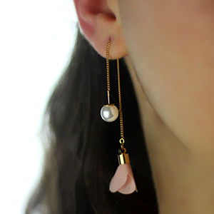 Flower Drop Pearl Earrings - statement jewellery
