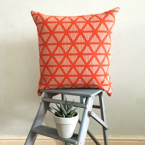 Screen Printed Geometric Triangle Stripe Cushion - cushions
