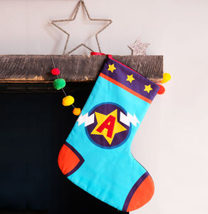Superhero Personalised Christmas Stocking