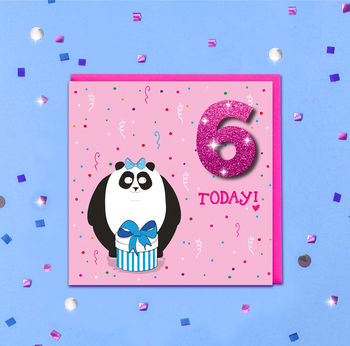Personalised Glitter Panda Kids Age Card