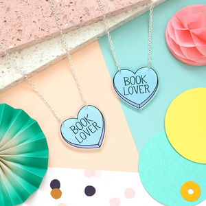 Book Lover Acrylic Necklace - necklaces & pendants
