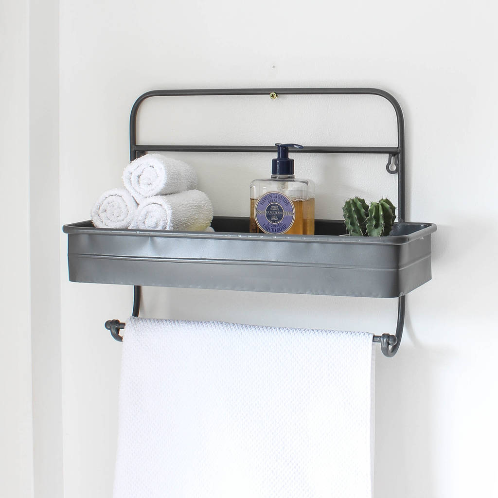 grey metal bathroom shelf by marquis & dawe | notonthehighstreet.com