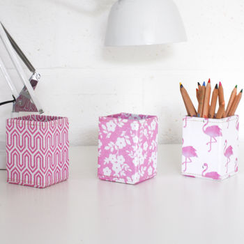 Recycled Pink Prints Pen Pot
