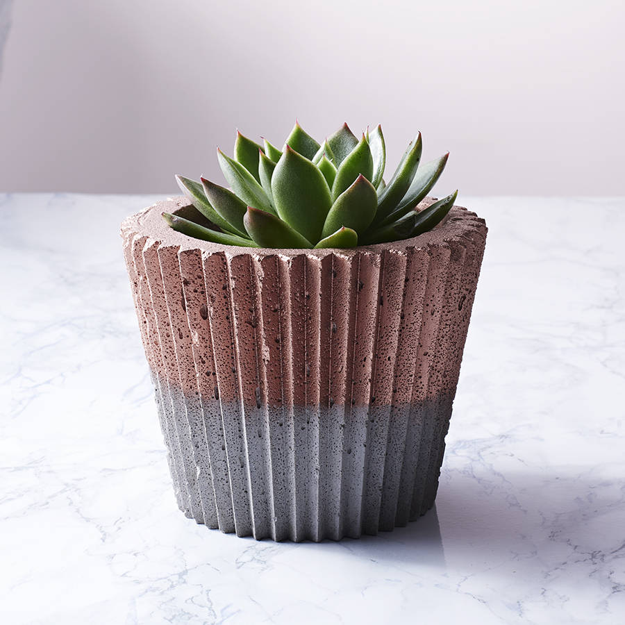Concrete Copper Crinkle Pot