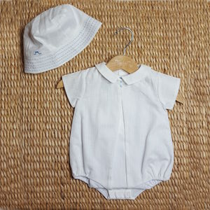 Baby Boy French Designer Rompersuit And Sun Hat Set