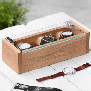 Personalised Etched Glass Solid Oak Watch Box - watch storage