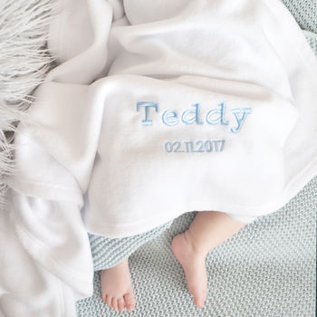 Personalised White Fleece Baby Blanket