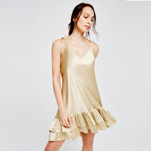 Coco Silk Chemise Gold - vests & camisoles