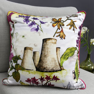 Silk Flowers And Cooling Towers Print Cushion - cushions