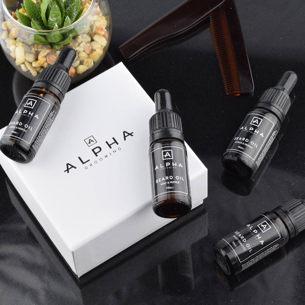 hand crafted premium beard oil selection gift box by alpha grooming. Black Bedroom Furniture Sets. Home Design Ideas