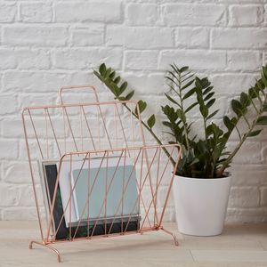 Copper Magazine Rack - storage & organisers