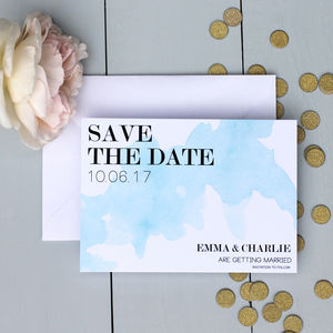 Watercolour Spill Wedding Save The Date Card - invitations