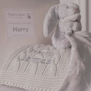 Personalised Baby Blanket And Bunny Comforter Gift Set - baby care