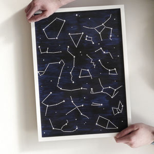 Painted Constellation A3 Stars Poster Print - posters & prints