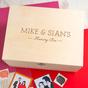 Engraved Names Personalised Couples Wooden Memory Box