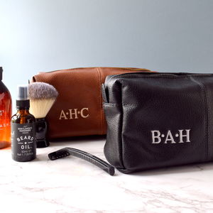 Personalised Leather Effect Men's Wash Bag - make-up & wash bags