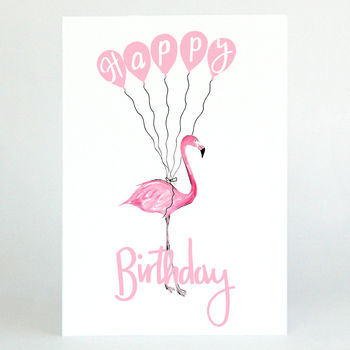 Pink Flamingo 'Happy Birthday' Card