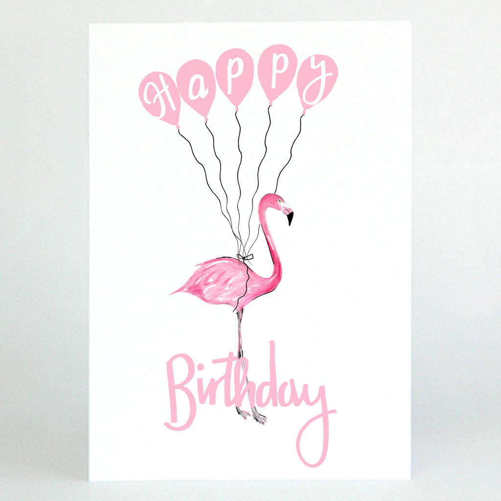 Pink Flamingo Happy Birthday Card By De Fraine Design London