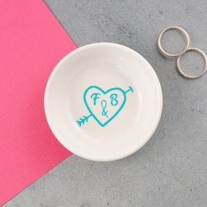 Personalised Love Heart Wedding Ring Dish - jewellery storage & trinket boxes