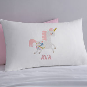 Personalised Scandi Unicorn Pillowcase