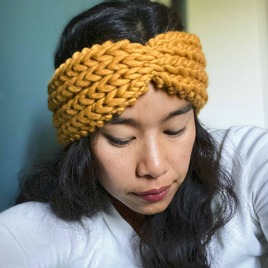 Knit Your Own Ribbed Bow Headband In Mustard Yellow By ...