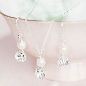 Bridal Bridesmaids Crystal And Pearl Jewellery Gift Set