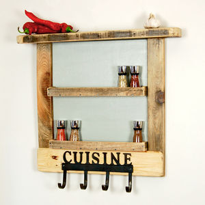 Reclaimed Wood Spice Rack With Hooks