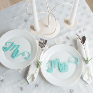 Mr And Mrs Wedding Place Settings Table Decorations
