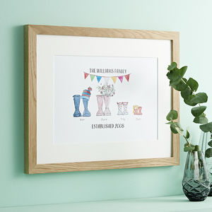 Personalised Welly Boot Family Print - gifts for him