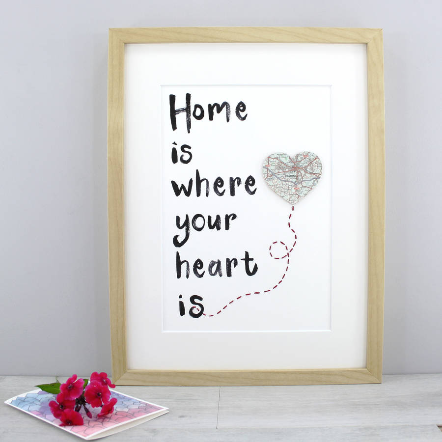 home is where your heart is personalised location print by six0six design. Black Bedroom Furniture Sets. Home Design Ideas