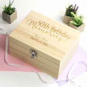Personalised 40th Birthday Keepsake Box