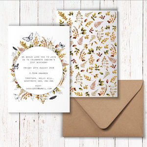 Golden Wildlife Invitations - invitations