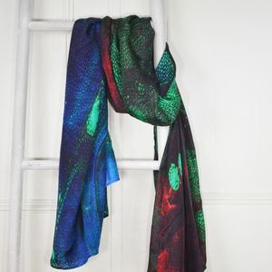 Varenna Red Blue And Green Marble Print Silk Scarf